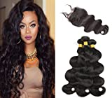 Sunwell Human Hair 3 Bundles with Lace Closure Body Wave 7A Unprocessed Brazilian Virgin Hair Bundles with Free Part 4X4