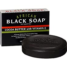 Madina African Black Soap Cocoa Butter with Vitamin E, 3.5 oz (Pack of 3)