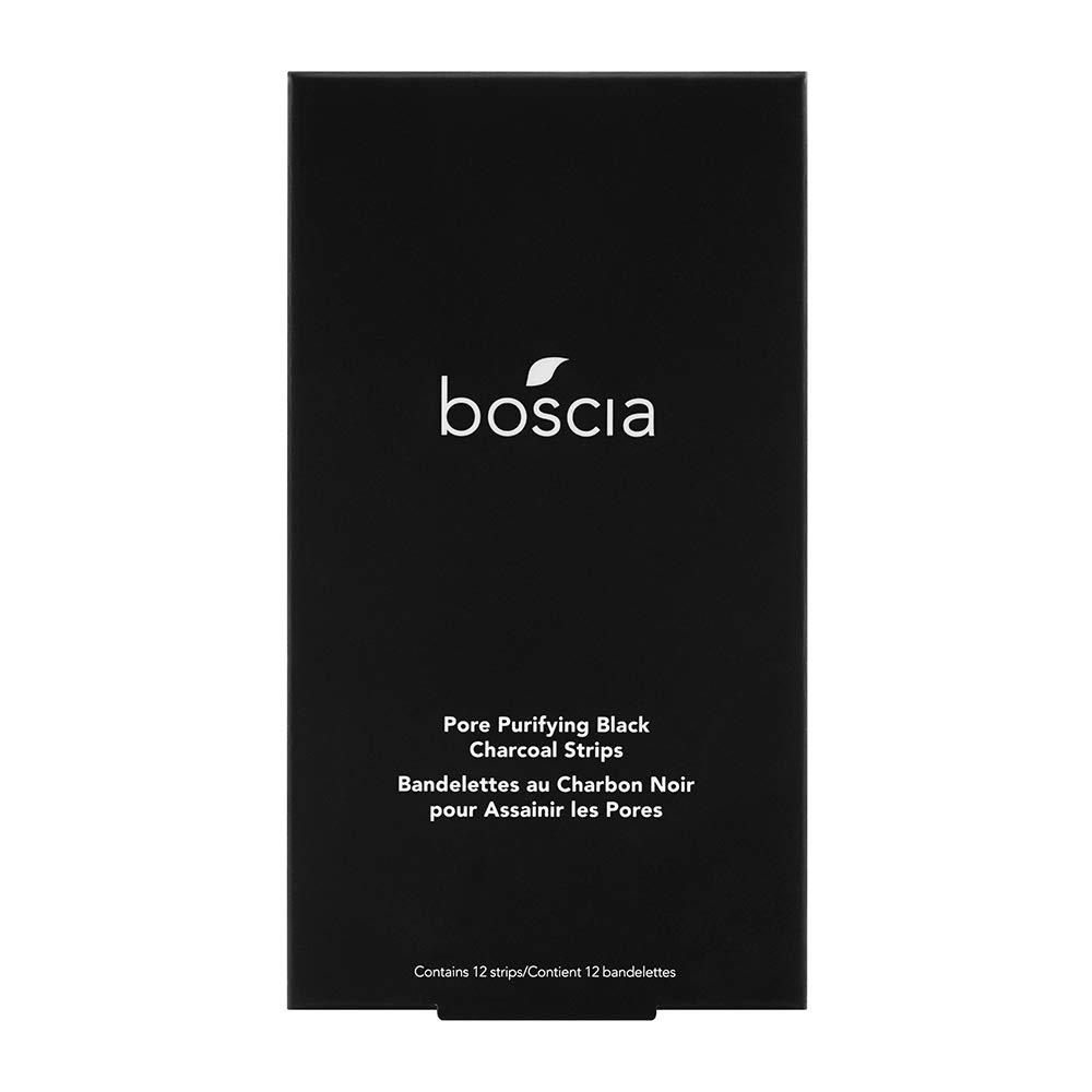 boscia Pore Purifying Black Charcoal Strips - Natural Activated Black Charcoal Blackhead Removal Pore Strips, 12 Strips