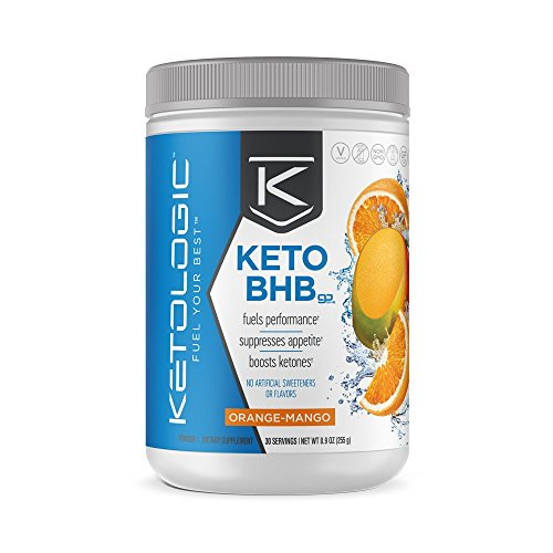 KetoLogic BHB – Keto Supplement – Suppresses Appetite/Increases Energy/Low Carb/Electrolytes/Beta-Hydroxybutyrate Salts  – Orange-Mango, 30 Servings by Ketologic