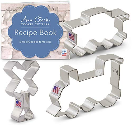 (Train/Railroad Cookie Cutter Set with Recipe Booklet - 3 piece - Train Engine, Caboose, Railroad Crossing Sign - Ann Clark - US Tin Plated Steel)