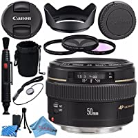 Canon EF 50mm f/1.4 USM Lens 2515A003 + 58mm 3pc Filter Kit + Lens Cleaning Kit + Lens Pouch + Lens Pen Cleaner + 58mm Tulip Lens Hood + Fibercloth Bundle