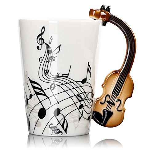 Musical Instrument Notes Coffee Mug With Violin Shaped Unique Handle Fashion Tea Milk Ceramic Porcelain Cup 300ml