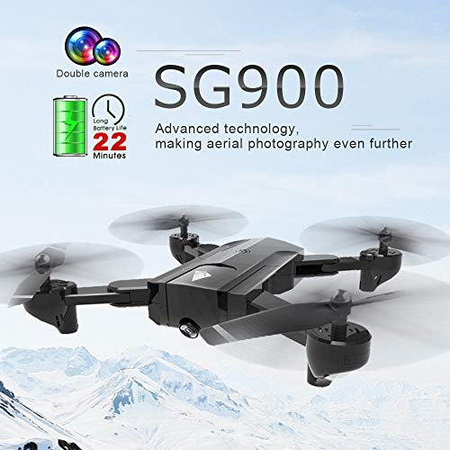 Hisoul Hot  SG900 New Drone 2.4Ghz 4CH 720P WiFi High-Definition Adjustable Dual Camera RC Quadcopter Drone - Headless Mode/Attitude Hold/Experiential Follow/Gesture Recording (Black) ()