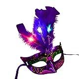 light blue mardi gras mask - Gbell Women Venetian LED Mask, Masquerade Fancy Dress Party Princess Feather Masks (Purple)