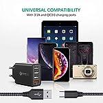 JOOMFEEN-Caricatore-USB-da-Muro-Con-Cavo-USB-Type-C-Quick-Charger-30-30W6A-Carica-Rapida-4-Porte-Caricabatterie-USB-Multiplo-da-Parete-per-Samsung-Galaxy-S10S9S8-PlusNote-8Huawei-P20P30Xiaomi