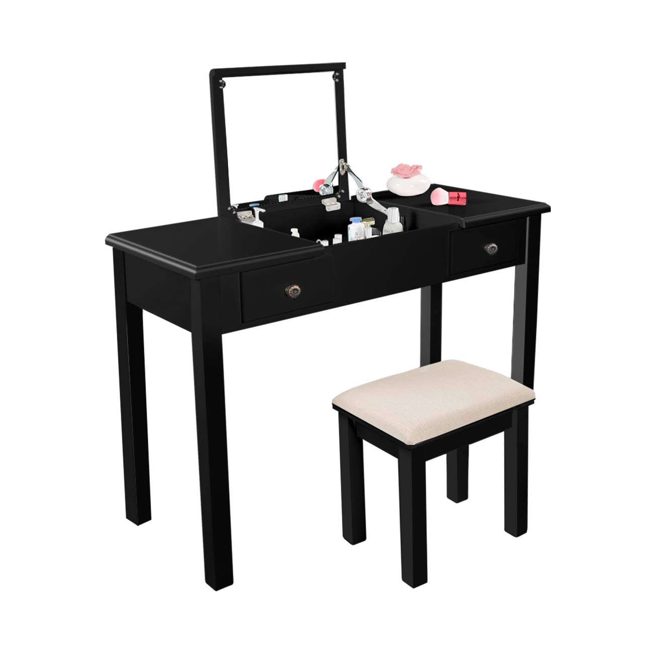 AODAILIHB Vanity Table with Flip Top Mirror Makeup Dressing Table Writing Desk with Cushioning Makeup Stool Set, 2 Drawers 3 Removable Organizers Easy Assembly (Black)