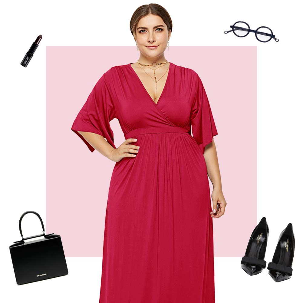 Lover-Beauty Essentials Patterned Short-Sleeve Waisted Maxi Dress Donna rosso2 XL