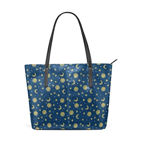 COOSUN Sun Moon And Stars PU Leder Schultertasche Handtasche und Handtaschen Tasche für Frauen