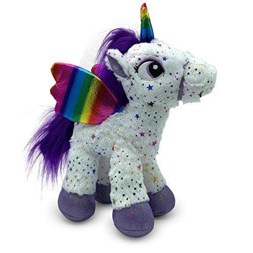 LittleFoot Nation Bright & Shiny 13'' Big Plush Sparkle Standing Unicorn Toy, Soft Rainbow Pegasus Alicorn Stuffed Animal with Wings for Kids -
