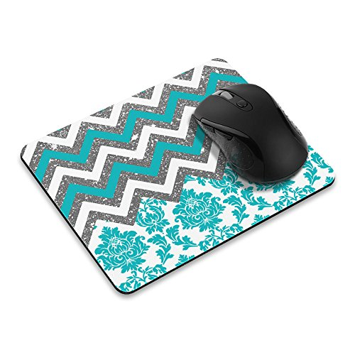 Non-Slip Rectangle Mousepad, FINCIBO Teal Chevron Damask Mouse Pad for Home, Office and Gaming - Mouse Pad Teal