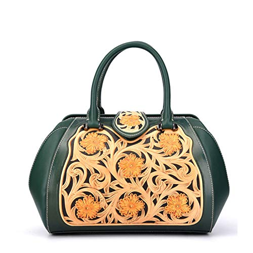 Genuine Leather Women Bag Chinese Style Handbag Flower Shoulder Crossbody Messenger Bag Natural Skin Top Handle Bags,Green