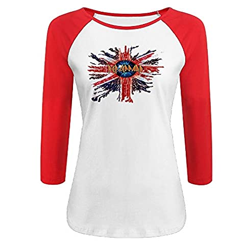 Women's Def Leppard 100% Cotton 3/4 Sleeve Athletic Raglan Sleeves T-Shirt Red US Size S (Pinky Marie)
