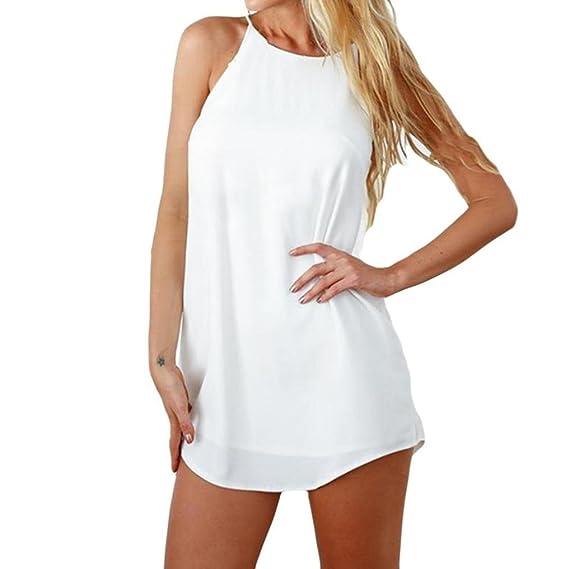 Mini Vestido sin Mangas,Vestido Casual de la Playa de la impresión sólida