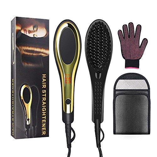 Priksia Hair Straightener Brush Ceramic Heating Hair Straightening Irons brush Anti Scald,Static, Detangling. Black