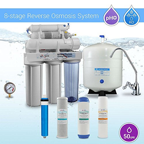 Max Water 8 Stage 50 GPD Home Residential PH PLUS Alkaline Mineral Reverse Osmosis System 8 Stage Countertop