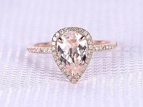 Morganite Engagement Ring Pear Shaped Cut 6x9mm VVS Gemstone SI I-J Diamond 14k Rose Gold,Stacking,Halo Ring,Bridal Ring,Wedding Ring