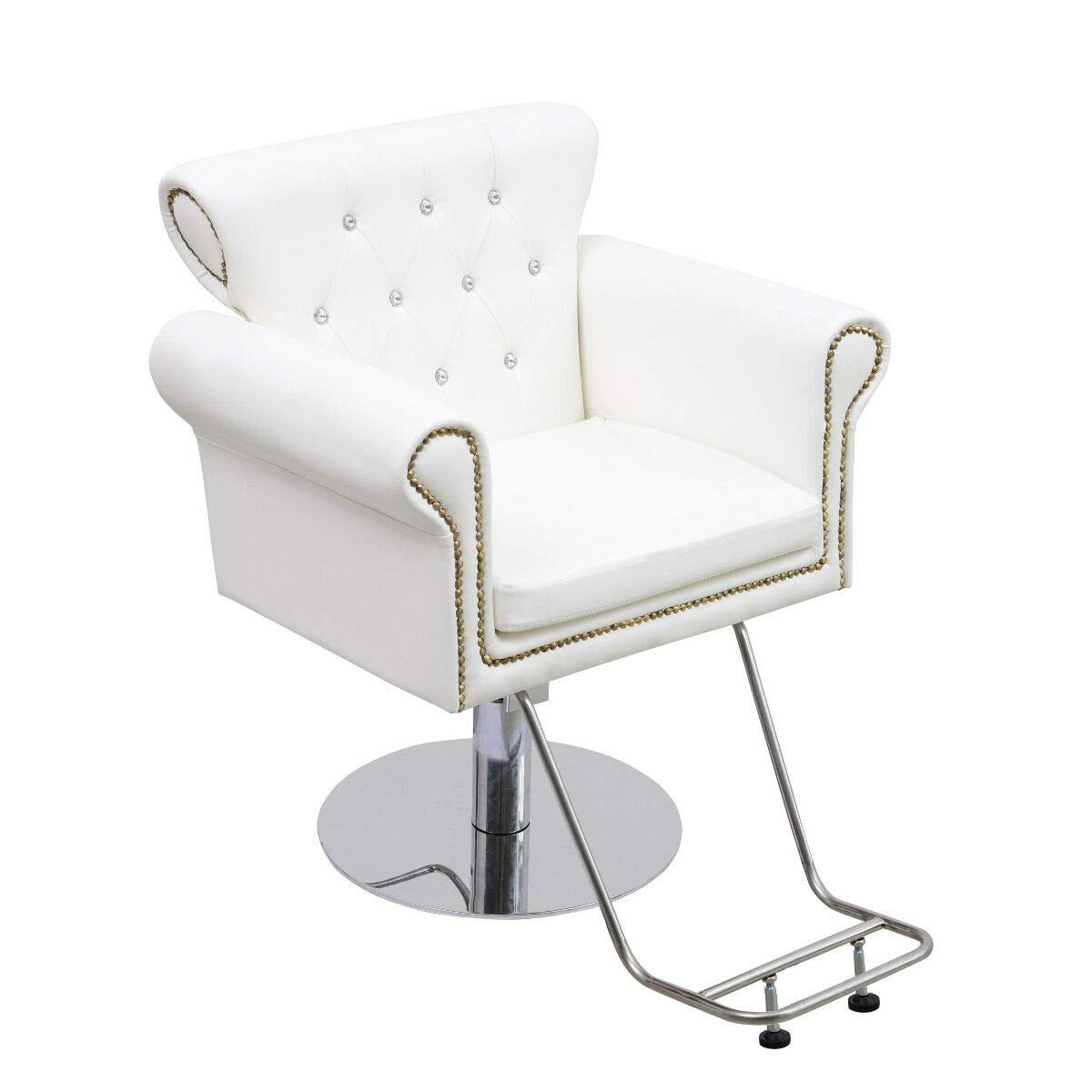 Generic Hydraulic Styling Chair White Barber Chair Salon Furniture Equipment