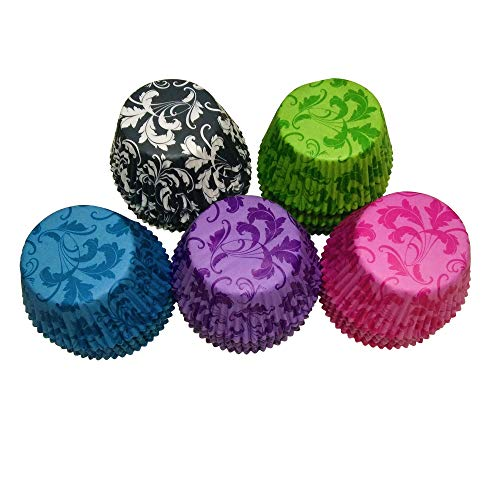 5 color Purple,Black,Green,Blue,Pink Damask Leaf Muffin Cupcake Liners Paper case birthday Baking Cups 500 pcs,Standard Size 3