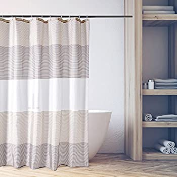 BUZIO Shower Curtain With 12 Hooks By Mildew Resisant Fabric Bathroom Water Repellent And Anti Bacterial Brown Beige Strip 72 X Inches