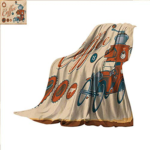 - Retro Digital Printing Blanket Artsy Commercial Design of Vintage Truck with Coffee Grinder Old Fashioned Summer Quilt Comforter 62 x 60 inch Cream Orange Grey