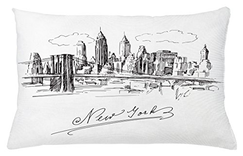 Nyc Throw Pillow (NYC Throw Pillow Cushion Cover by Lunarable, New York City Contemporary Business Metropolis Corporate Town Monochromic Sketch, Decorative Accent Pillow Case, 26 W X 16 L Inches, Black and White)