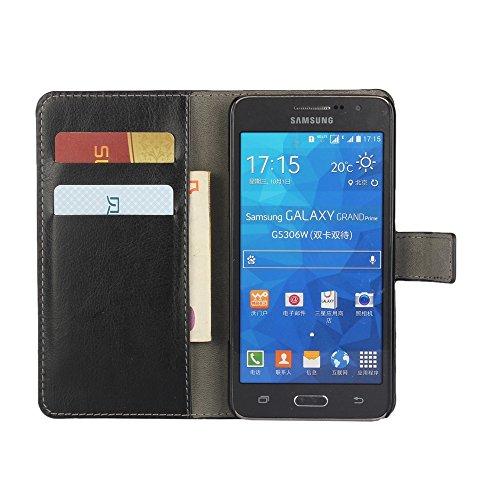 COOLKE Retro PU Leather Wallet With Card Pouch Stand de protección Funda Carcasa Cuero Tapa Case Cover para Samsung Galaxy Grand Prime G530F, G530FZ, G530Y, G530H, G530FZ/DS - púrpura Rojo