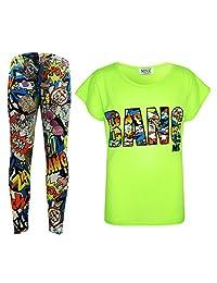 Kids Girls BANG Printed Trendy Top & Stylish Fashion Legging Set Age 7-13 Years