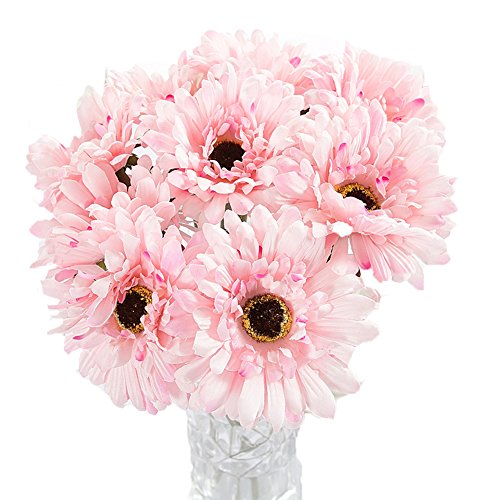 - Htmeing 10 pcs Sunbeam Artificial Flower Mum Gerber Daisy Bridal Bouquet Silk Wedding Party Decoration (Light Pink)