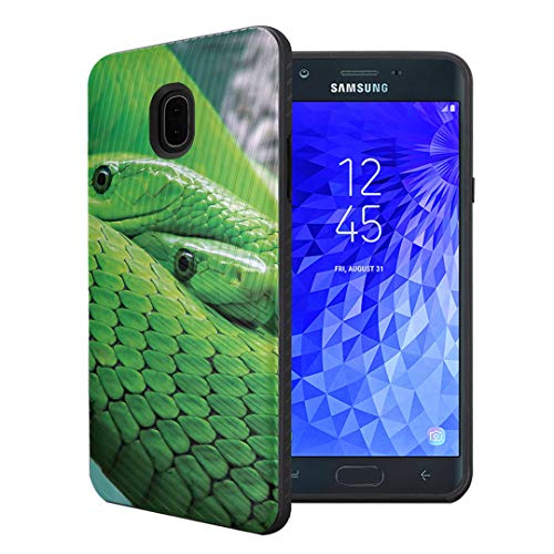 Capsule Case Compatible with Samsung Galaxy J7 2018 (J737), J7 Star, J7 Aero, J7 Refine, J7V 2nd Gen, J7 Crown, J7 Eon [Embossed Diagonal Layer Slim Case Black] - (Mamba - Embossed Snake Black