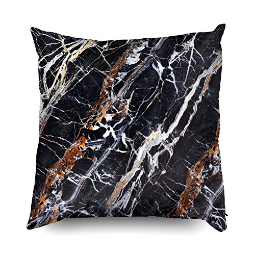(TOMWISH Hidden Zippered Pillowcase Christmas Texture Black Gold White 18X18Inch,Decorative Throw Custom Cotton Pillow Case Cushion Cover for Home Sofas,Bedrooms,Offices,and More)