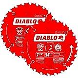 Freud D0724A Diablo 7-1/4-inch 24T ATB Thin Kerf Framing Saw Blades, 2-Pack