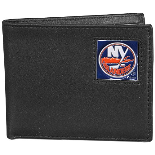 NHL New York Islanders Leather Bi-Fold Wallet Packaged in Gift Box, Black