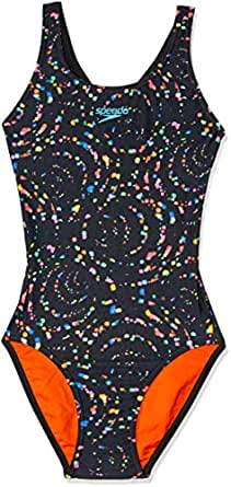 Speedo Girls' Light Swirl LDBK ONE Piece, Light Swirl, 6