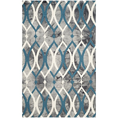 Safavieh Dip Dye Collection DDY534J Handmade Modern Geometric Watercolor Grey and Ivory Blue Wool Area Rug (5' x 8')