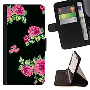 Momo Phone Case / Flip Funda de Cuero Case Cover - Roses Vert Noir Tissu - LG G4c Curve H522Y (G4 MINI), NOT FOR LG G4