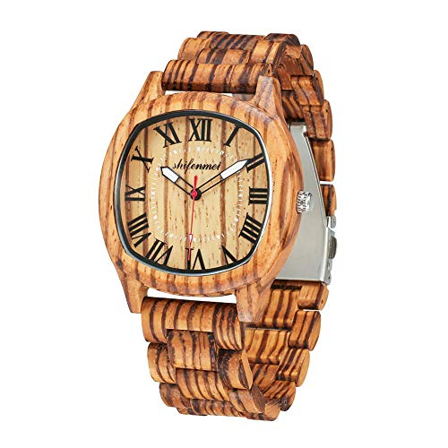(Wooden Watches for Men, shifenmei S5524 Natural Handmade Analog Quartz Wooden Watches Japanese Movement and Battery Adjustable Wood Strap Lightweight Wrist Wood Watch with Gift Box)