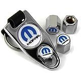 M Mopar White Wheel Air Tire Valve Caps Cover ABS Plastic /w Key Chain Chrome