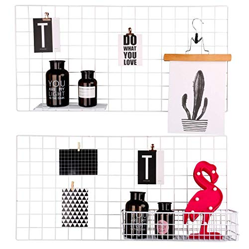 (Kufox Painted Wire Wall Grid Panel, Multifunction Photo Hanging Display and Wall Storage Organizer, Pack of 2, Size 15.7
