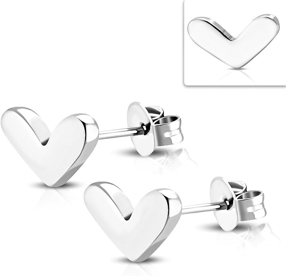 pair Stainless Steel Black Love Heart Stud Earrings