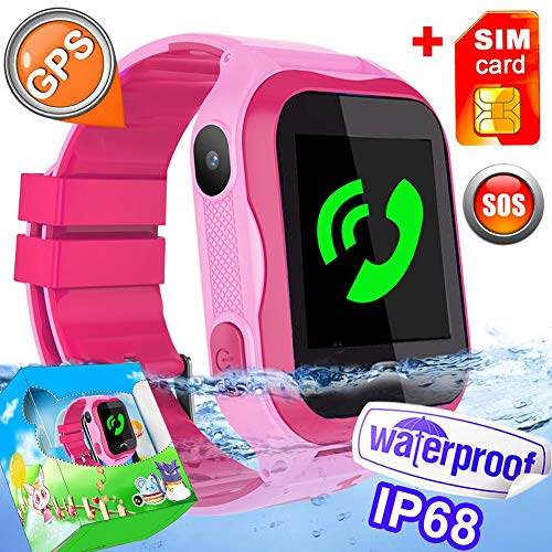 [SIM Included]- Kid Smart Watch Phone IP68 Waterproof WiFi GPS Tracker Best School Gift Girls Boys with SIM Pedometer SOS Camera for iOS/Android Swim Summer Travel Outdoor Holiday Gift