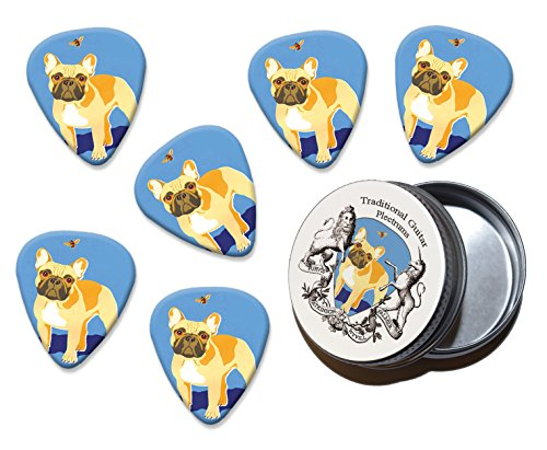 French Bulldog Martin Wiscombe 6 X Guitar Picks In Tin Vintage Retro