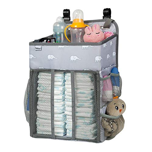 (Hanging Nursery Organizer and Baby Diaper Caddy, Selbor Diapers Stacker Storage Bag for Changing Table, Crib, Playard or Wall - Nursery Organization & Baby Shower Gifts for Newborn (Elephant))