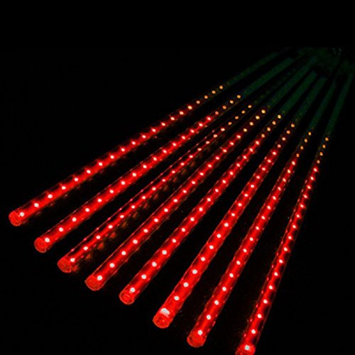 LIYUDL 50cm LED Lights Waterproof Dustproof Meteor Shower Rain 8Tube Light US Plug For Wedding Party Christmas Xmas Decoration Tree(Red)