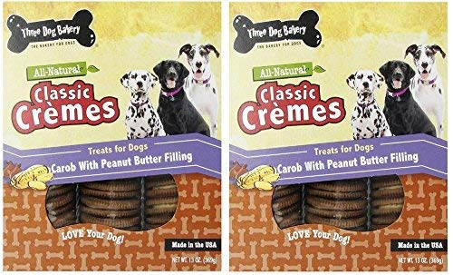 (Three Dog Bakery 13-Ounce Classic Cremes Carob with Peanut Butter Filling Baked Dog Treats (2 Pack))