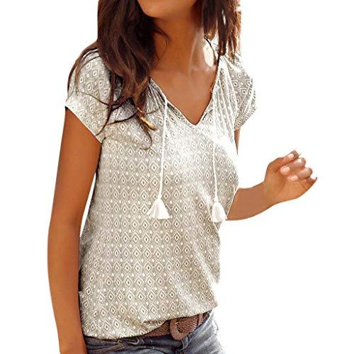 - Behkiuoda Women Summer Tops Blouse Bohemian Print Shirt Short Sleeve Holiday Beach T-Shirt Tunic Tee White