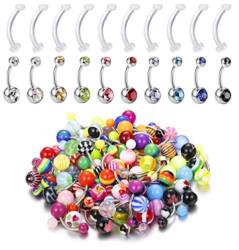 Udalyn 100Pcs 14G Stainless Steel Belly Button Ring Set Acrylic Navel Barbell Bars Nipple Tongue Rings Body Piercing Jewelry for Women