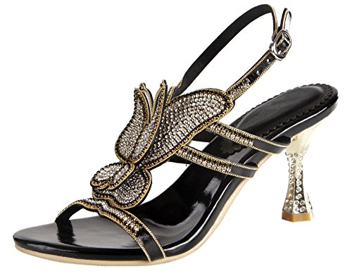Party Bling Crystal shoes Sandals Special Black Pattern Women Pump Honeystore Wedding Strapy Butterfly Heel AHcIWfFFX
