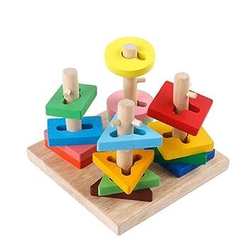 Quattro neonati per Giocattoli in geometrica Sostegno pilastri Forma legno Accoppiamento zMLUpSVGq
