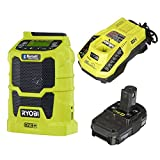Ryobi P742 18V Cordless Compact AM / FM Radio w/ Wireless Bluetooth Technology with Charger and Lithium-ion battery (P128)